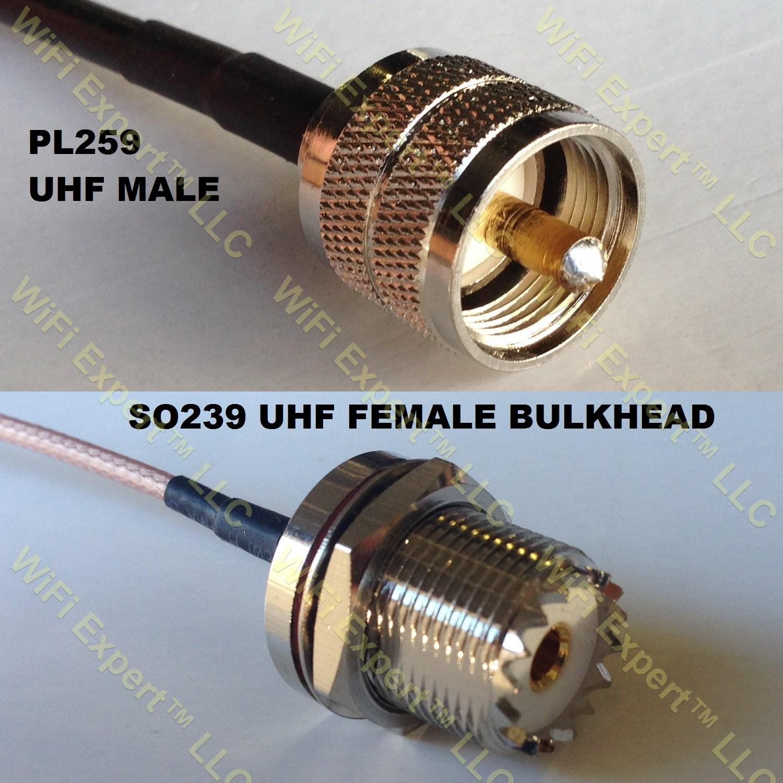 Rg so pl uhf male to female bulkhead coaxial